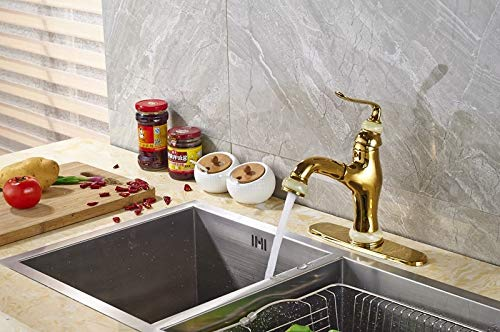 Retail Kitchen Sink Faucet Solid Brass Pull Out Mixer Tap with Cover Plate Gold Color - for kitchen tools,restaurant,Hotel -modern and class