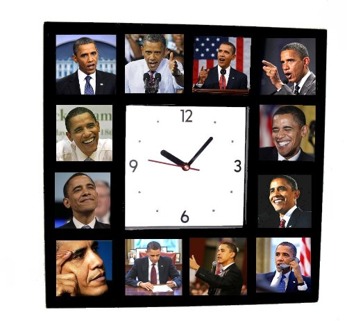 Finals Action Photo - The Famous Faces of Barack Obama Clock with 12 Action Pictures