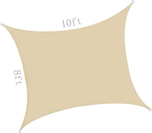 pinnacleT1 8 x 10ft Square Sun Shade Sail for Patio, Waterproof Fabric Canopy for Outdoor Facility and Activities