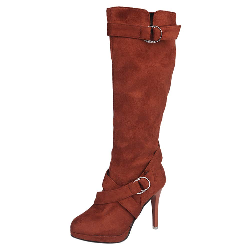 〓COOlCCI〓Women's Platform Front Criss Cross High Heel Stiletto Stretch Over The Knee High Boot, Martin Long Boots Shoes Brown by COOlCCI_Shoes