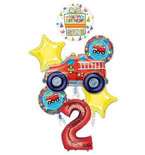 Fire Truck Fire Engine 2nd Birthday Party Supplies and Balloon Decorations