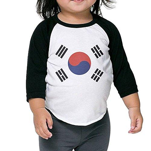 Korea National Costume For Girls (WQ UNIQUE Child North Korea Flag Basic Crew Neck 3/4 Sleeve Baseball Tee Shirts Youth Slim Fit)