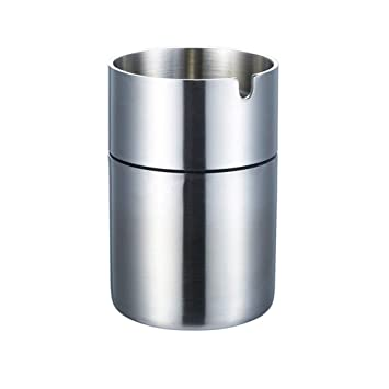 Metal Ashtray Car Windproof Ashtray Ashtray Soot Fashion Gift Color : Silver Stainless Steel Ashtray