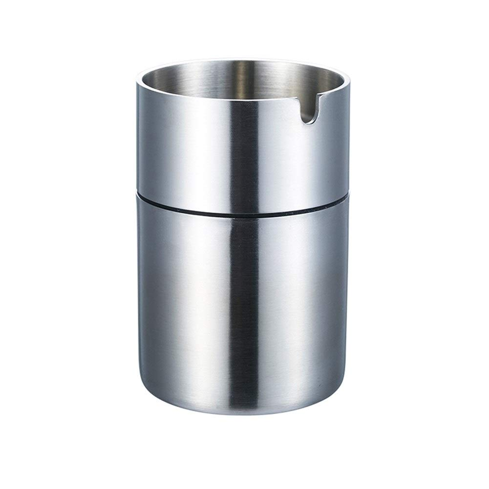 BAOYUANWANG Car Ashtray Stainless Steel Heightening Thick Ashtray Drawing Windproof Car Soot Thick Material Fashion Smoke (Color : Silver, Size : 11cm)