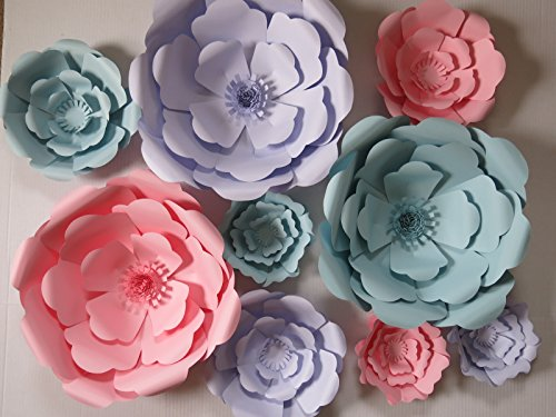 Pastel Giant Paper Flowers Set of 9, Pink, Lilac Purple and Blue Wedding Flower Wall, Rose Nursery Decor, Bridal Shower 3D Background 6-16'' by Always In Blossom