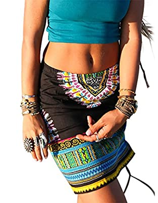 Pxmoda Womens African Dashiki Skirt Boho Ethnic Short Beach Skirt