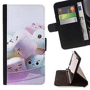 Momo Phone Case / Flip Funda de Cuero Case Cover - Marshmellow Cute Friends - Samsung Galaxy S6 Edge Plus / S6 Edge+ G928