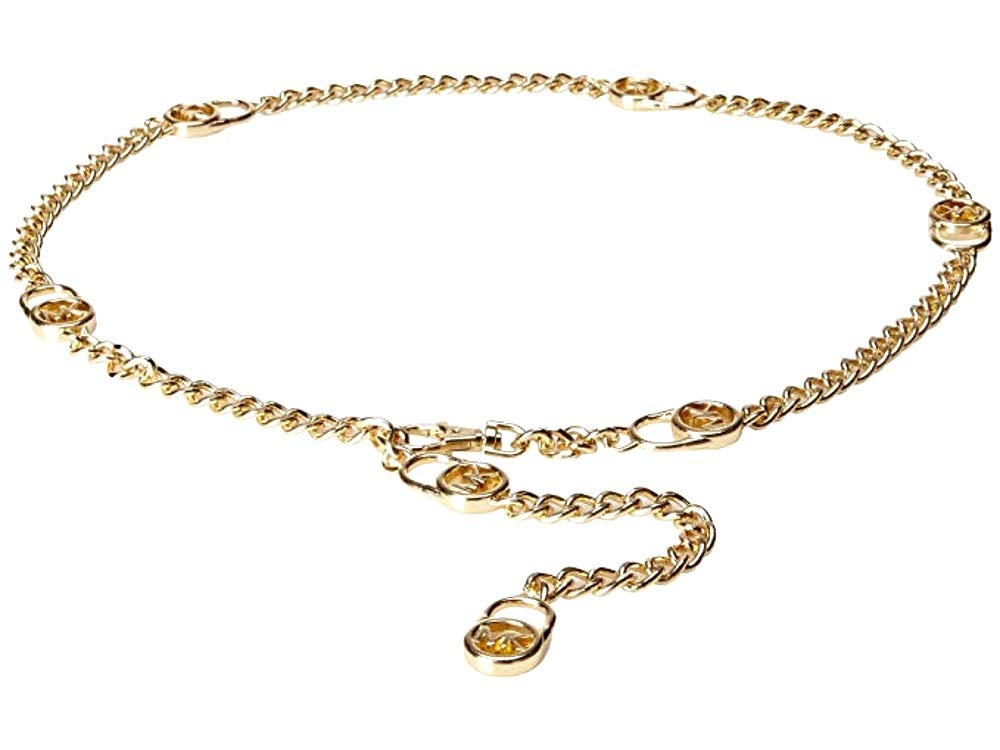 Michael Kors Mk Logo Hamilton Lock Gold Chain Belt (XL/XXL)