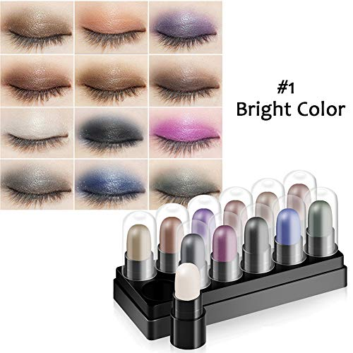 Eyeshadow Stick Set 12 Colors Highlighter Sticks Long Lasting Waterproof Stick Shimmer Eyeshadow Cream By - Stick Set