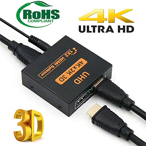 1x2 1 Port HDMI Powered Splitter V1.4 HDCP Bypass Certified Duplicate Screen for Full HD 4K x 2K, 3D Support, for Xbox/PS3/PS4/HDTV- One Input to Two Output by LYM Digital