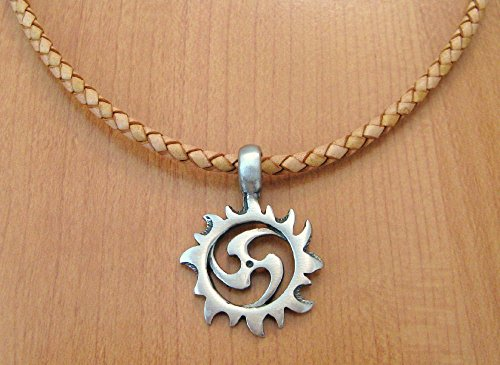 (Pewter Sun Spiral Pendant Necklace)