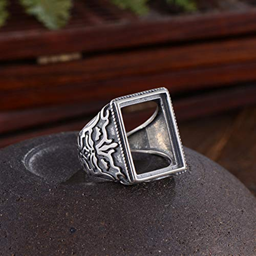(Men's Ring Blank (12x17mm Rectangle Blank) Adjustable Thai Sterling Silver Ring Base Vintage Style Rectangle Cabochon Ring Setting R835B)