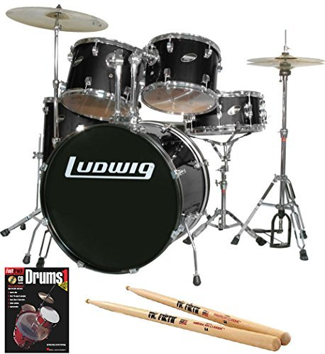 Ludwig Ludwig Accent (Ludwig Accent Drive Black 5-Piece Drum Set Bundle with Vic Firth American Classic 5A FIRTH Drumsticks and FastTrack Drum Method (Book 1))