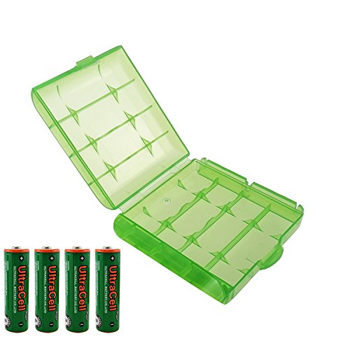 UltraCell Plus NiZn 1.6v AA - 2800mWh High Voltage Rechargeable Batteries With Battery Storage Box (Combo for 4pcs AA + 1pcs Green Battery Box)