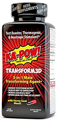 KA-POW! TRANSFORM3D - 3-IN-1 Fat Burner, Test Booster, & Nootropic Stimulant - This is the ultimate male game changer for fat loss, muscle gain, and feeling in your PRIME. 30 DAY SUPPLY