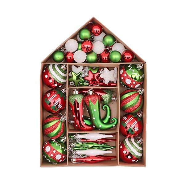 Victor's Workshop Addobbi Natalizi 70 Pezzi di Addobbi Natalizi per Albero, 3-8 cm Delizioso Elfo Infrangibile Ornamenti di Palla di Natale Decorazione per la Decorazione Dell'Albero di Natale 1 spesavip