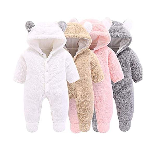 Haokaini - Tutina da Neve per Neonato, in Cotone e Pile, con Cappuccio, per Bambini e Bambine 1
