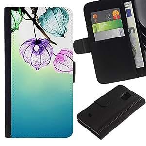 Planetar® Modelo colorido cuero carpeta tirón caso cubierta piel Holster Funda protección Para Samsung Galaxy S5 Mini / SM-G800 (Not For S5!!!) ( Flowers Floral Sun Summer Blue Calming )