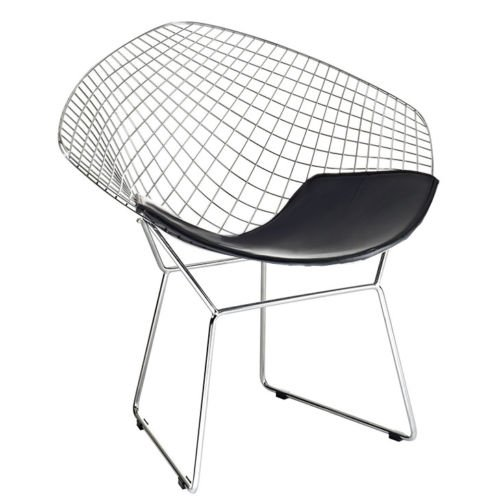 (Bertoia Style Diamond Chair in Chrome Finish with Black Seat Pad)