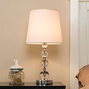 POPILION Modern Style Stacked Crystal Ball Crystal Table Lamp,White Fabric  Shade Table Lamps
