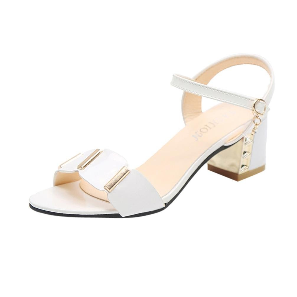 Sunbona Women Sexy Peep Toe Ankle Buckle Rough Mid Heels Sandals Casual Wedding Party Dress Shoes (US:8(RU/EU/CN40), White)