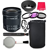 Canon EF-S 10-18mm f/4.5-5.6 IS STM Lens For Canon T3 T5 T6 T3i T5i T6i T6s 70D 60D 80D 700D 750D 600D 7D Mark II DSLR Cameras + Complete Accessory Kit - International Version (No Warranty)