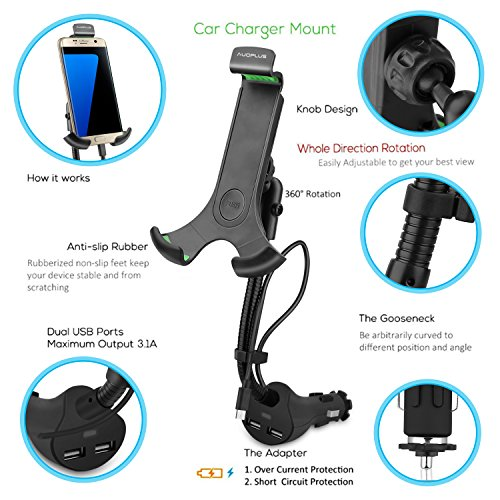 AUOPLUS Gooseneck Car Outlet Mount Cigarette Lighter Phone Holder Charger with Built-in Charging Cord for Samsung Galaxy and More Android Smartphones by AUOPLUS (Image #2)