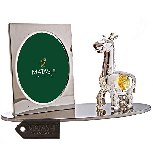 Silver Plated Picture Frame with Crystal Studded Cartoon Giraffe Figurine on a Base by Matashi (Animal That Starts With M)