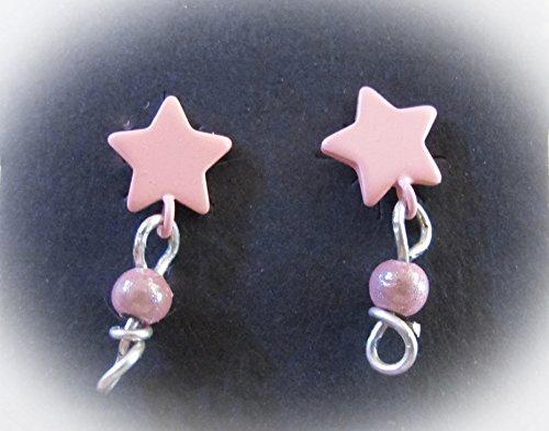 Enamel Childrens Star (Girls' Pink Enamel Star Stud Earrings with Pink Bead Dangles.)