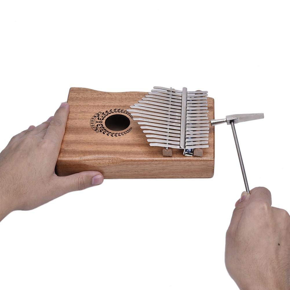 Per 17 Keys Kalimba Portable Thumb Piano Solid Finger Piano Mbira/Marimba Mahogany Body with Tune Hammer&Instruction Beginner Friendly Electric Pickup Bag + Cable by Per (Image #5)