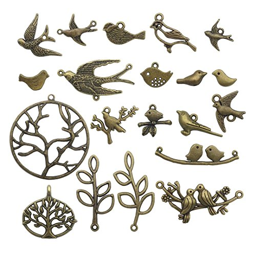 (58 PCS Birds Tree Charms Collection - Mixed Bird Life of Tree Leaves Swallows Branch Connector Metal Pendants for Jewelry Making DIY Findings (Bronze HM13))