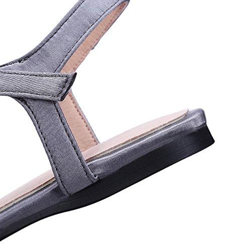 Split Sandals Toe Soft No Buckle Heel Gray AmoonyFashion Solid Womens Material 5wzqOg