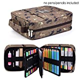 202 Colored Pencils Pencil Case / 136 Color Gel pens Pen Bag/Marker Organizer - Universal Artist use Supply School Zippered Large Capacity Slot Super Big Professional Storage qianshan Coffee Cat