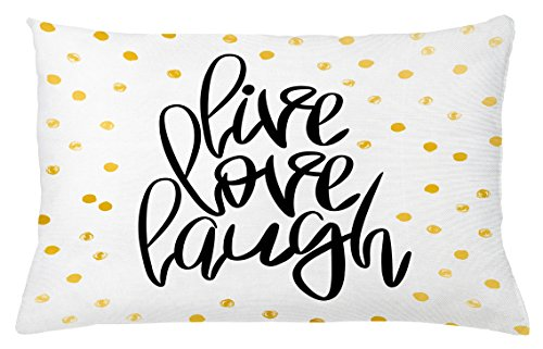 Ambesonne Live Laugh Love Throw Pillow Cushion Cover, Stylized Hand Lettering on Dotted Backdrop Inspirational Phrase, Decorative Square Accent Pillow Case, 26 X 16 Inches, Black White Yellow - Inspirational Bench