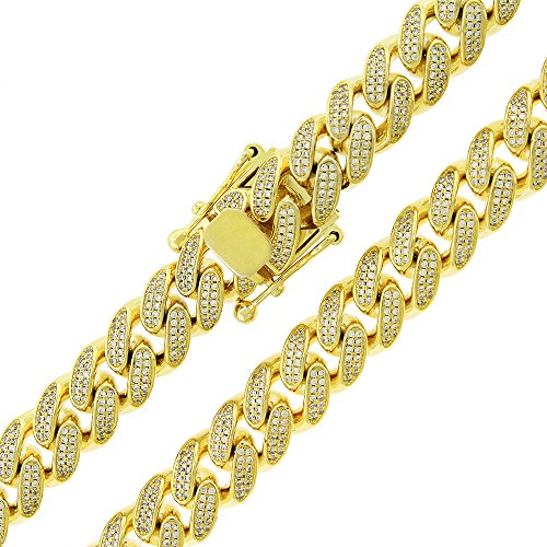 .925 Sterling Silver 11.5mm CZ Iced Out Miami Cuban Curb Link Bling Chain Necklace Yellow Plated (28) by In Style Designz