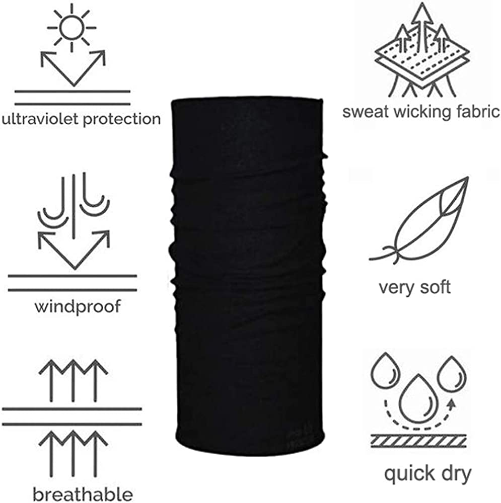 Sweat Wicking Headbands Headwear Bandana Sports Scarf Tube UV Face Cover for Workout Motorcycling