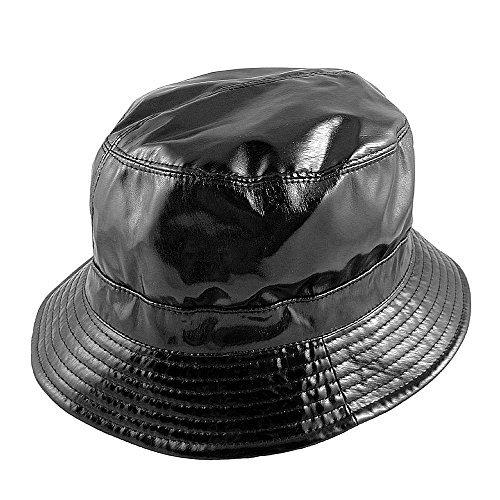 sur la tete Vinyl Rain Bucket Hat (1-Size, Black)