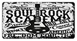 zaeshe3536658 Retro License Plate, quotSoul Rock Academy'' Theme Music School Electric Guitar Freedom Poster Like Image, High Gloss Aluminum Novelty Plate, 6 X 12 Inches.