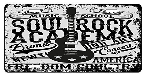 zaeshe3536658 Retro License Plate, quotSoul Rock Academy'' Theme Music School Electric Guitar Freedom Poster Like Image, High Gloss Aluminum Novelty Plate, 6 X 12 Inches. by zaeshe3536658