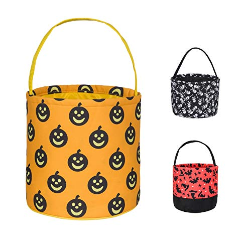 Halloween Trick or Treat Bucket - Daneyc Festive Party Decoration Candy Basket Tote Bag for Kids (yellow)