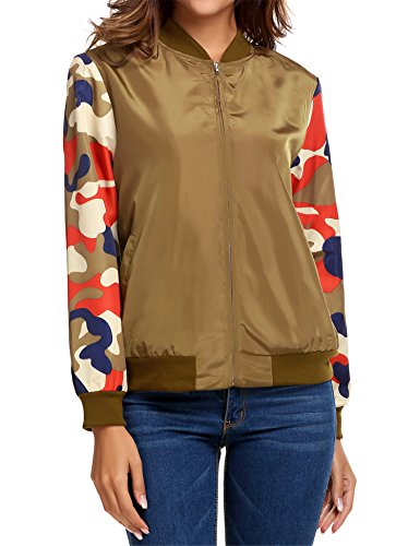 Bomber Parka - Zeagoo Women's Bomber Jacket Solid Biker Quilted Lightweight Zip Up Jacket Coat Orange XXL