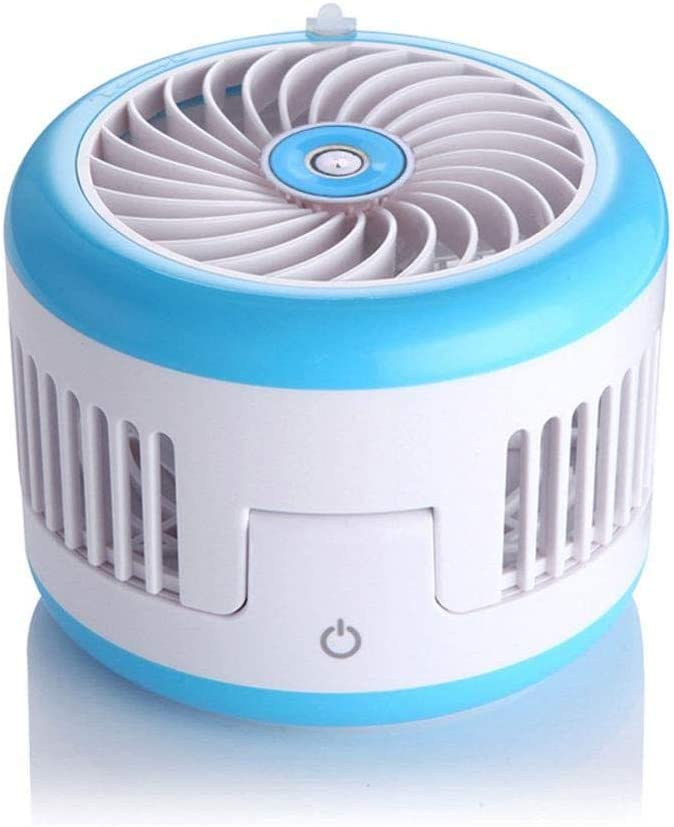 ASDAD Handheld USB Spray Humidification Foldable Fan with Smart Touch Switch Low Noise 2 Speeds Mini Portable Cooling Desk Fan for Home Office,Black,Blue