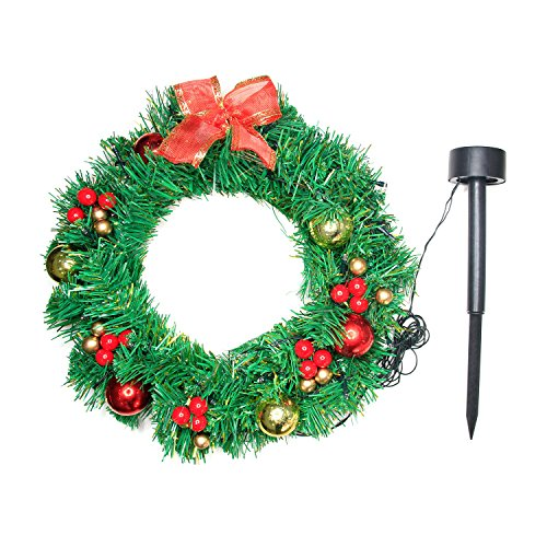 Wreath Garland Solar 20 LED Lights Outdoor/Indoor Decor Ornaments Christmas Halloween Decoration