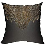 Mugod Black and Gold Decorative Pillow Case Abstract Baroque Royal Paisley Glitter Elegant Floral Throw Pillow Cover Home Decor Cotton Linen Square Cushion Cover for Couch Bed Sofa 18X18 Inch