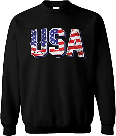 Tcombo Stars and Stripes USA American Flag Youth Fleece Crewneck Sweater
