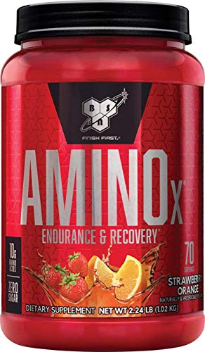 BSN Amino X Muscle Recovery & Endurance Powder with BCAAs, 10 Grams of Amino Acids, Keto Friendly, Caffeine Free, Flavor: Strawberry Orange, 70 Servings (Packaging May Vary)
