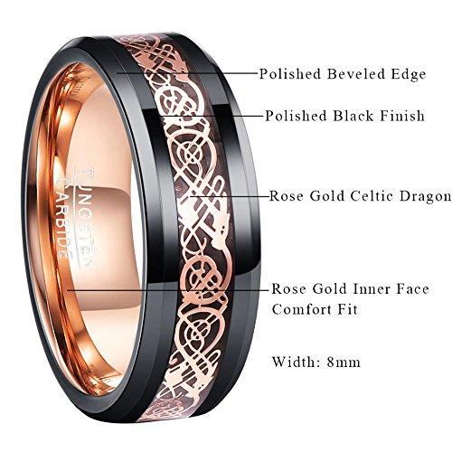 5ad4d0a624e Nuncad Men Tungsten Carbide Ring Wedding Band 8mm Beveled Edge Celtic  Dragon Inlay Polish Finish Size