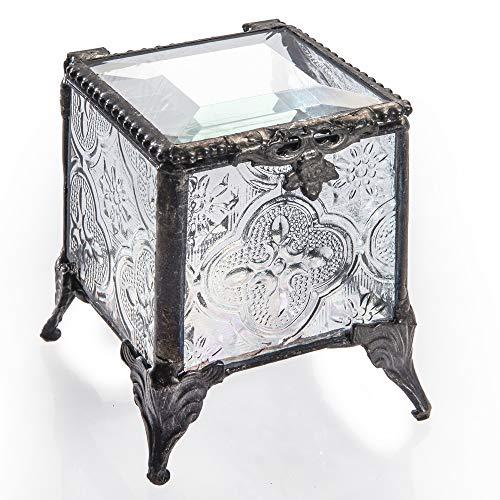 Black & White Glass Ring - J Devlin Box 153 Series Stained Glass Trinket Keepsake Jewelry Display Crystal Ring Box (Vintage)