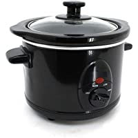 Skeetronix Gloss Black Slow Cooker 1.5L with Removable Ceramic Inner Bowl