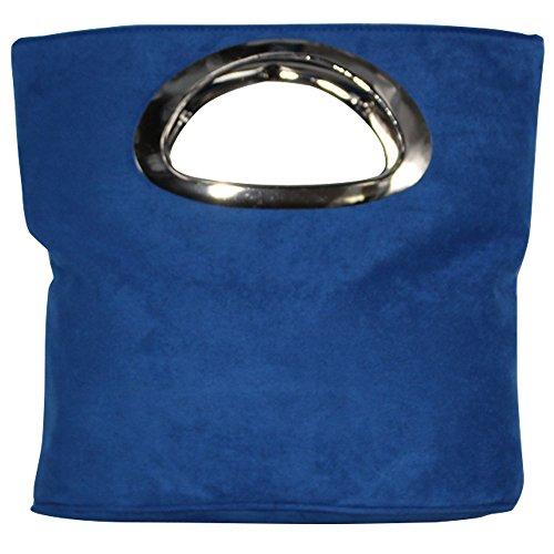 Royal Handle Foldable Purse Suede Grey Clutch Italian Bag Cckuu Blue Evening Ladies Top Leather qwnSZ7ARHx
